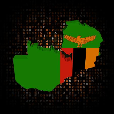 zambia: Zambia map flag on hex code illustration
