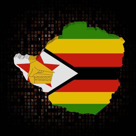 hex: Zimbabwe map flag on hex code illustration