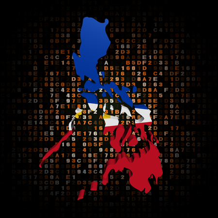 philippines map: Philippines map flag on hex code illustration