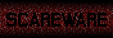 malicious software: Scareware text on hex code illustration