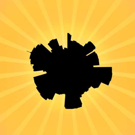 new orleans: Circular New Orleans skyline on sunburst illustration
