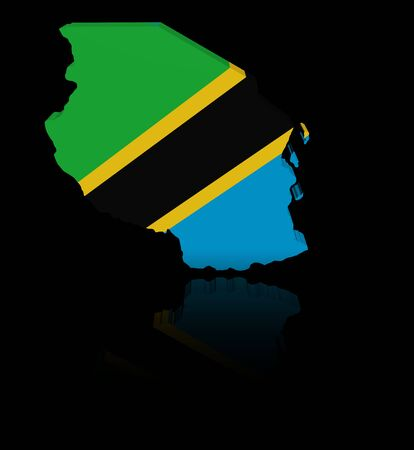 in reflection: Tanzania map flag with reflection illustration