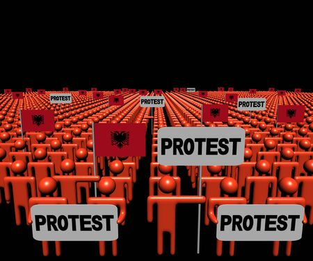 protest signs: Crowd of people with protest signs and Albanian flags illustration