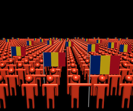 romanian: Crowd of abstract people with many Romanian flags illustration