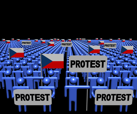 protest signs: Crowd of people with protest signs and Czech flags illustration Stock Photo