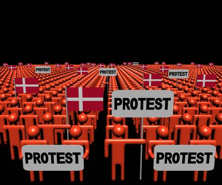 protest signs: Crowd of people with protest signs and Denmark flags illustration Stock Photo