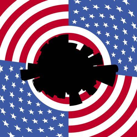 denver: Denver circular skyline with American flag illustration