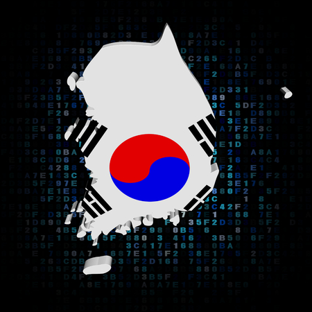 south asian: South Korea map flag on hex code illustration