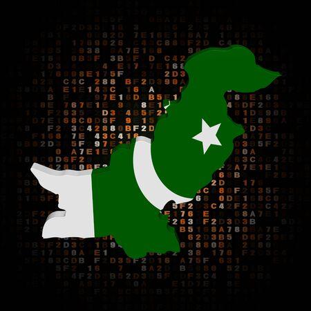 Pakistan: Pakistan map flag on hex code illustration