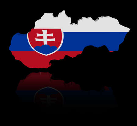 in reflection: Slovakia map flag with reflection illustration