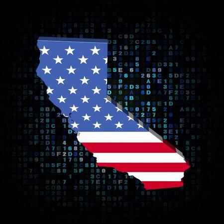 hex: California map flag on hex code illustration