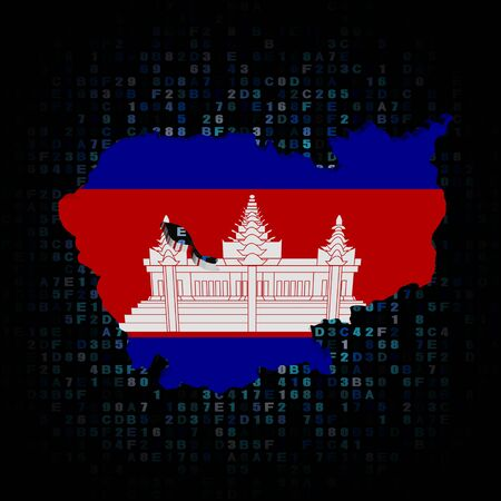 cambodian flag: Cambodia map flag on hex code illustration Stock Photo