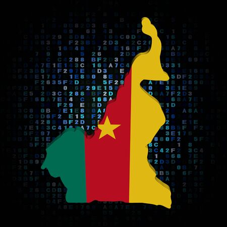 hex: Cameroon map flag on hex code illustration