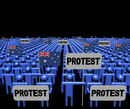 protest signs: Crowd of people with protest signs and Australian flags illustration
