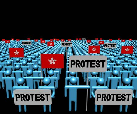 demonstrate: Crowd of people with protest signs and Hong Kong flags illustration
