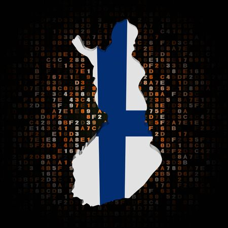 hex: Finland map flag on hex code illustration