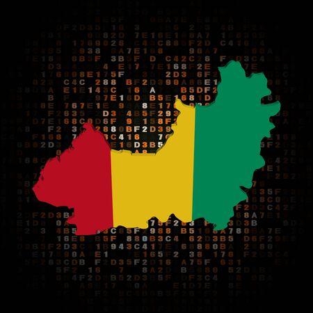 guinea: Guinea map flag on hex code illustration Stock Photo