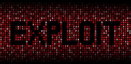 explocion: Explotar el texto en código hexadecimal ilustración Foto de archivo