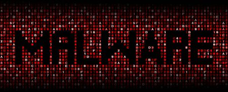 Malware text on hex code illustration Stock Photo