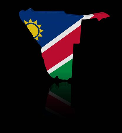 in reflection: Namibia map flag with reflection illustration