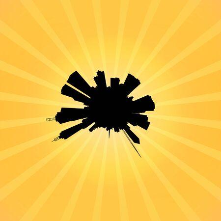 melbourne: Circular Melbourne skyline on sunburst illustration
