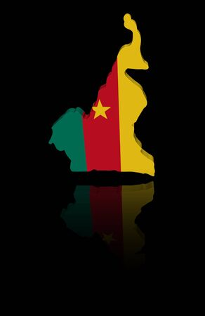 in reflection: Cameroon map flag with reflection illustration