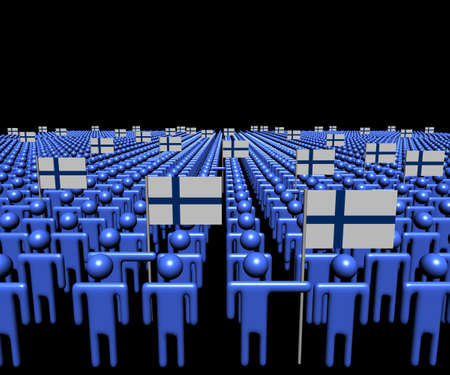 multitude: Crowd of abstract people with many Finnish flags illustration