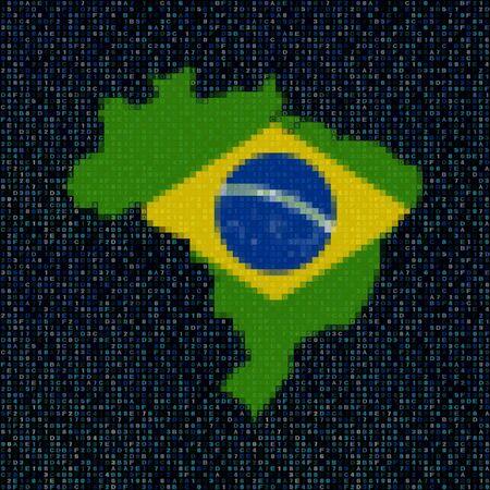 brazil map: Brazil map flag on hex code illustration