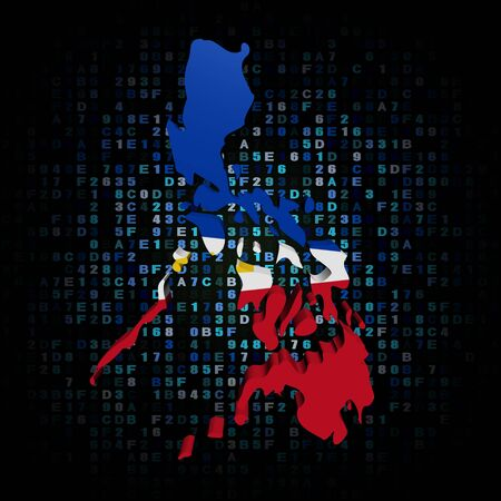 hex: Philippines map flag on hex code illustration