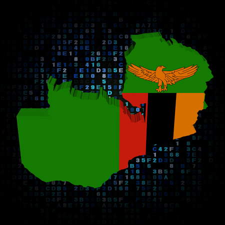 hex: Zambia map flag on hex code illustration