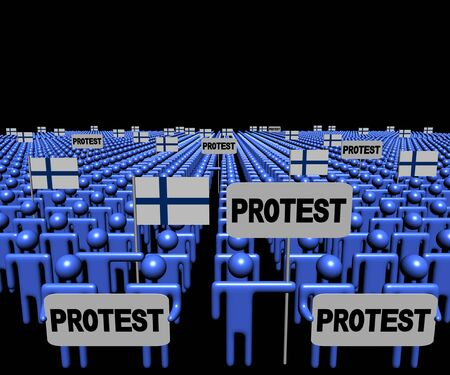 protest signs: Crowd of people with protest signs and Finnish flags illustration Stock Photo