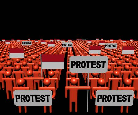 protest man: Crowd of people with protest signs and Indonesian flags illustration Stock Photo