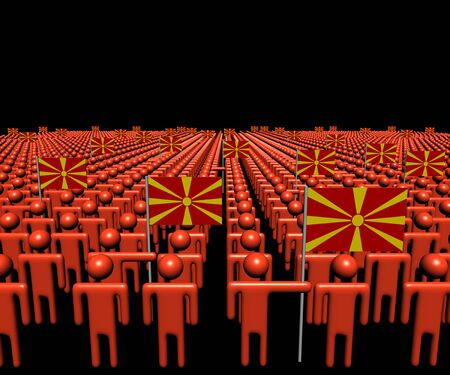 multitude: Crowd of abstract people with many Macedonian flags illustration Stock Photo