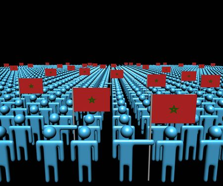 multitude: Crowd of abstract people with many Moroccan flags illustration