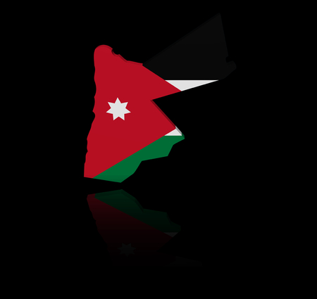 in reflection: Jordan map flag with reflection illustration