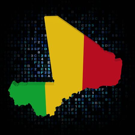 hex: Mali map flag on hex code illustration