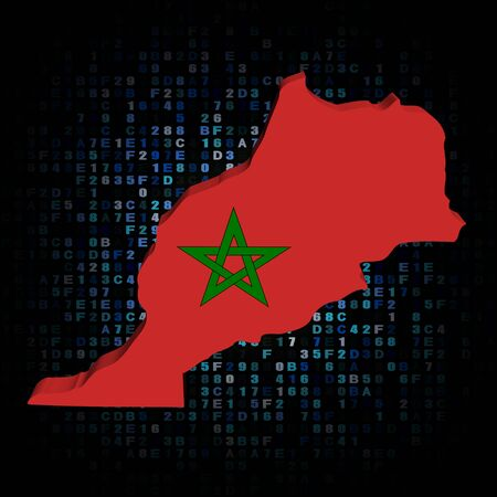 hex: Morocco map flag on hex code illustration