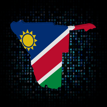 hex: Namibia map flag on hex code illustration Stock Photo