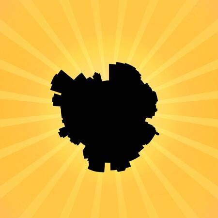 edmonton: Circular Edmonton skyline on sunburst illustration Stock Photo