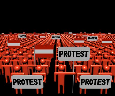 multitude: Crowd of people with protest signs and Austrian flags illustration Stock Photo
