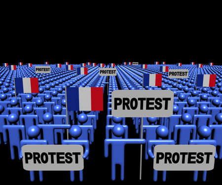 demonstrate: Crowd of people with protest signs and French flags illustration