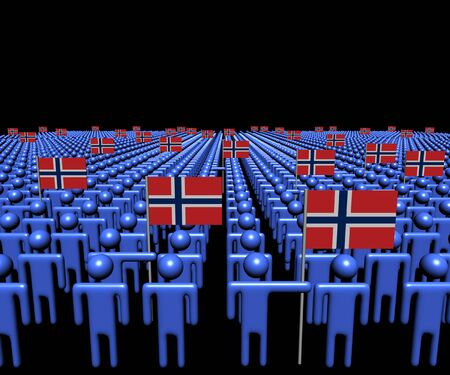 norway flag: Crowd of abstract people with many Norwegian flags illustration