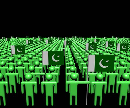 pakistani: Crowd of abstract people with many Pakistani flags illustration