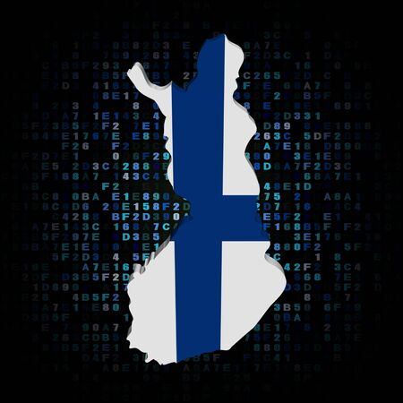 finland: Finland map flag on hex code illustration