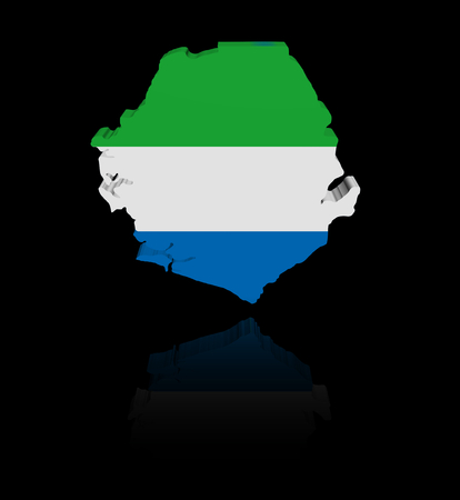in reflection: Sierra Leone map flag with reflection illustration