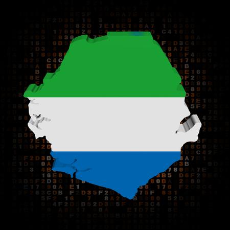 hex: Sierra Leone map flag on hex code illustration