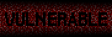 cyber warfare: Vulnerable text on hex code illustration