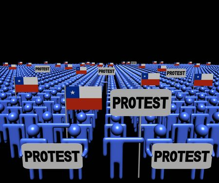 protest signs: Crowd of people with protest signs and Chilean flags illustration Stock Photo