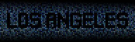 los angeles: Los Angeles text on hex code illustration