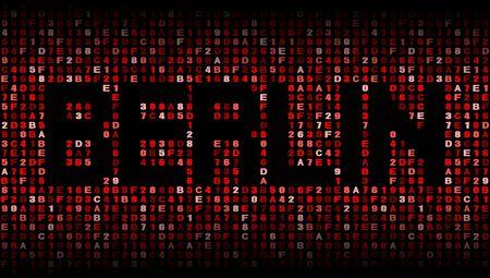 hex: Berlin text on hex code illustration